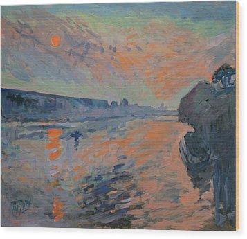 Le Coucher Du Soleil La Meuse Maastricht Wood Print by Nop Briex