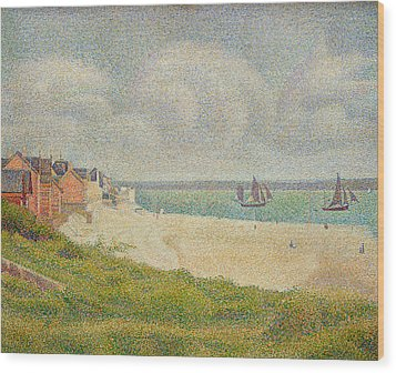 Le Crotoy Looking Upstream Wood Print by Georges Pierre Seurat