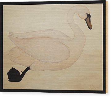 Le Cygne Wood Print by Carrie Jackson
