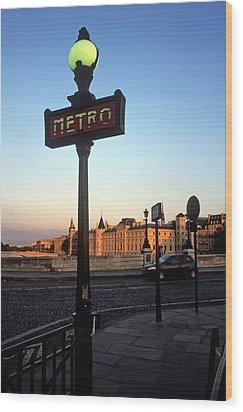 Le Metro At Dusk Wood Print by Kathy Yates