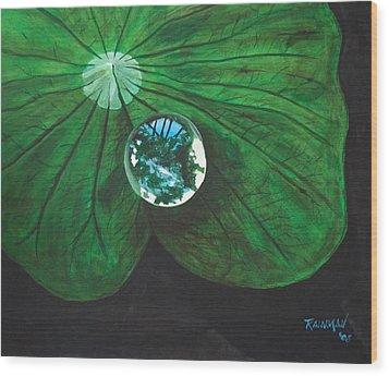 Le Monde Dans Une Goutte D Wood Print by Stephane Trahan