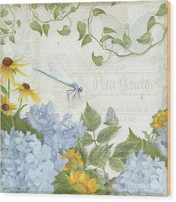 Wood Print featuring the painting Le Petit Jardin 2 - Garden Floral W Dragonfly, Butterfly, Daisies And Blue Hydrangeas by Audrey Jeanne Roberts