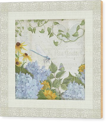 Wood Print featuring the painting Le Petit Jardin 2 - Garden Floral W Dragonfly, Butterfly, Daisies And Blue Hydrangeas W Border by Audrey Jeanne Roberts