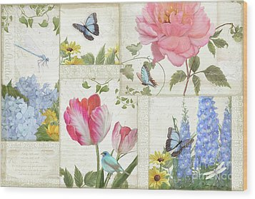 Le Petit Jardin - Collage Garden Floral W Butterflies, Dragonflies And Birds Wood Print by Audrey Jeanne Roberts
