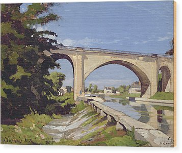 Le Pont Canal A Briare Wood Print by Henri Joseph Harpignies