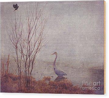 Wood Print featuring the photograph Le Retour De Mon Heron by Aimelle