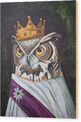 Le Royal Owl Wood Print by Nathan Rhoads