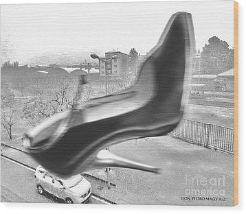 Flying Stiletto Wood Print