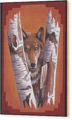 Leader Wolf Wood Print by Billie Bowles