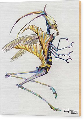 Leaf Hopper Wood Print by Mindy Newman