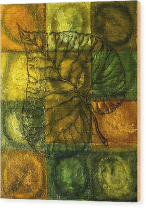 Leaf Whisper Wood Print by Leon Zernitsky