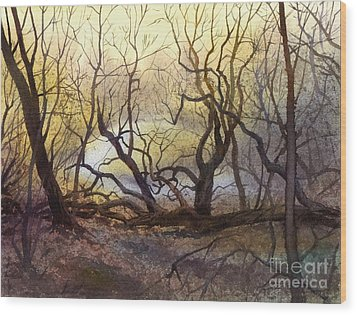 Wood Print featuring the painting Leafless Trees by Sergey Zhiboedov