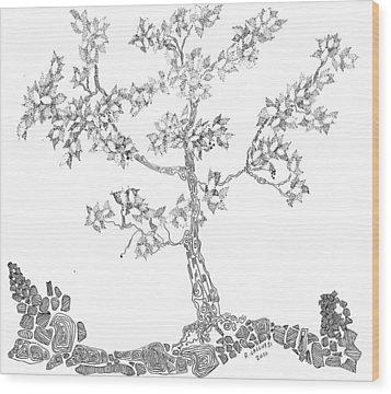 Leafy Jewels Wood Print by Regina Valluzzi