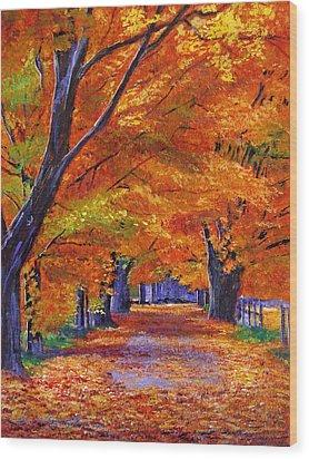 Leafy Lane Wood Print by David Lloyd Glover