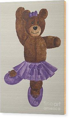 Wood Print featuring the painting Leah's Ballerina Bear 1 by Tamir Barkan