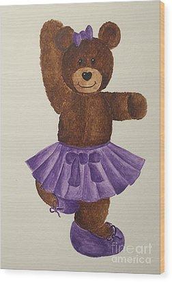 Wood Print featuring the painting Leah's Ballerina Bear 2 by Tamir Barkan
