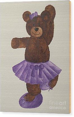 Wood Print featuring the painting Leah's Ballerina Bear 4 by Tamir Barkan