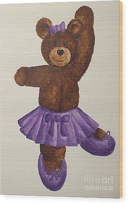 Wood Print featuring the painting Leah's Ballerina Bear 5 by Tamir Barkan