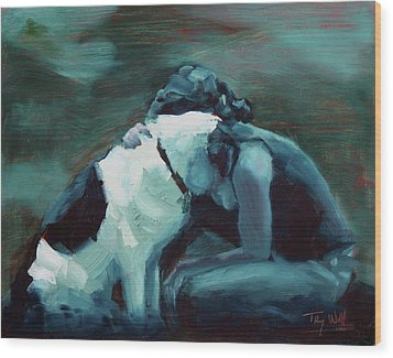 Lean On Me 4 Wood Print by Tracy Wall