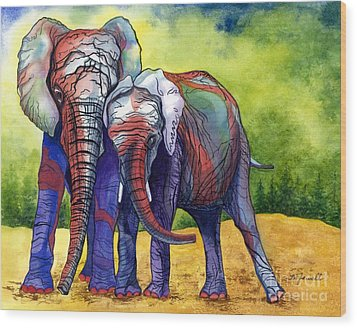 Lean On Me Wood Print by Barbara Jewell