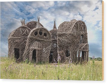 Lean On Me - Stick House Series 1/3 Wood Print