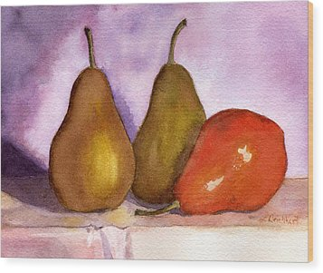 Leaning Pear Wood Print by Lynne Reichhart