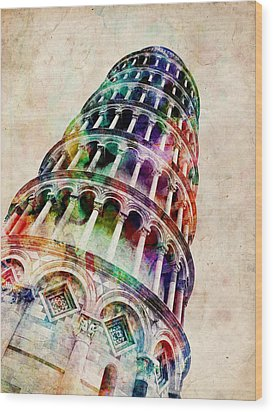 Leaning Tower Of Pisa Wood Print by Michael Tompsett