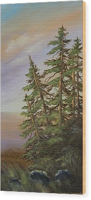 Wood Print featuring the painting Leaning Trees by Joni McPherson
