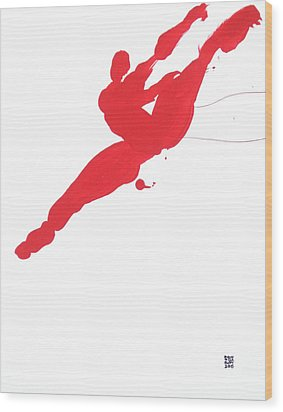 Leap Brush Red 3 Wood Print by Shungaboy X