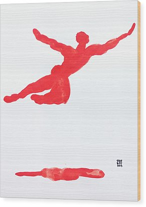 Leap Water Vermillion Wood Print by Shungaboy X