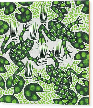 Leaping Frogs Wood Print by Nat Morley