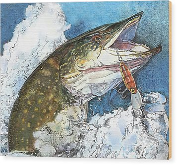 leaping Pike Wood Print