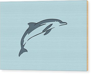 leather Dolphin Wood Print