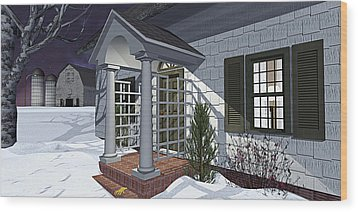 Leave The Porch Light On Wood Print