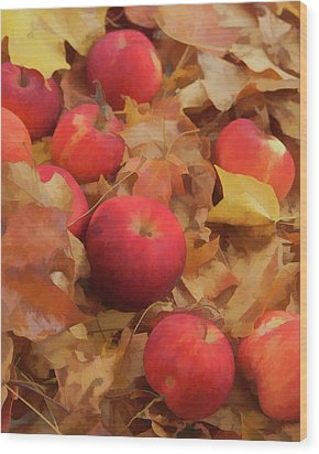 Wood Print featuring the photograph Leaves And Apples by Michael Flood