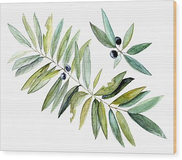 Wood Print featuring the painting Leaves And Berries by Laurie Rohner
