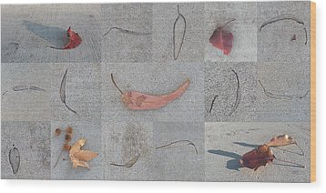 Leaves And Cracks Collage Wood Print by Ben and Raisa Gertsberg