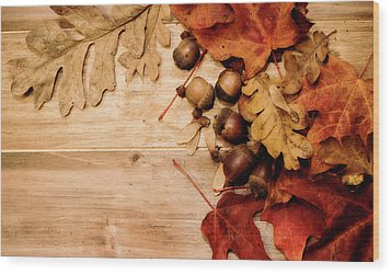 Wood Print featuring the photograph Leaves And Nuts 1 by Rebecca Cozart