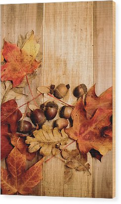 Wood Print featuring the photograph Leaves And Nuts 2 by Rebecca Cozart