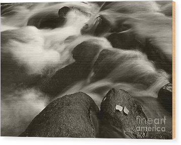 Leaves And Waterfall Wood Print by Timothy Johnson