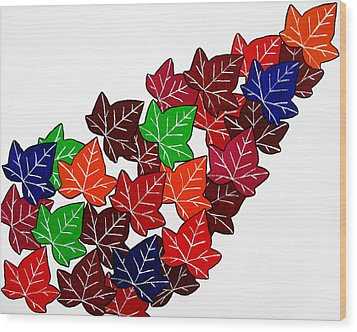 Leaves Wood Print by Oliver Johnston