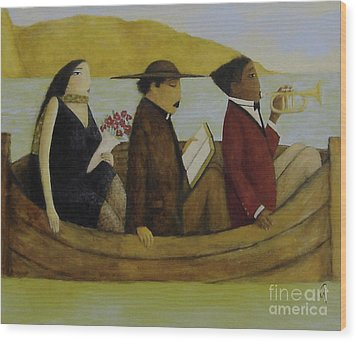 Wood Print featuring the painting Leaving America by Glenn Quist