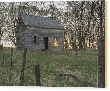 Leaving The Light On Wood Print by Penny Meyers