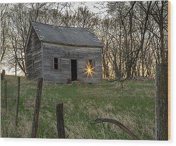 Leaving The Light On Wood Print