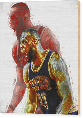 Lebron James 23 1 Cleveland Cavs Digital Painting Wood Print by David Haskett