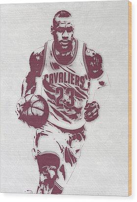 Lebron James Cleveland Cavaliers Pixel Art 4 Wood Print