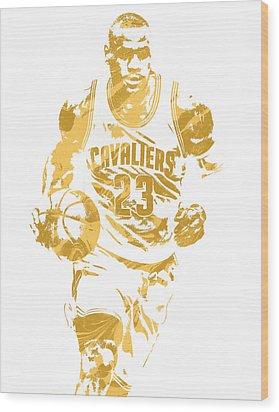 Lebron James Cleveland Cavaliers Pixel Art 7 Wood Print