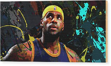 Wood Print featuring the painting Lebron by Richard Day