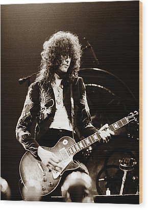 Led Zeppelin - Jimmy Page 1975 Wood Print by Chris Walter