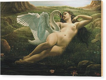 Leda And The Swan - Sensual Wood Print by Giovanni Rapiti